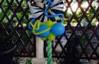 Цифра 5-Зебра на стойке из воздушных шаров